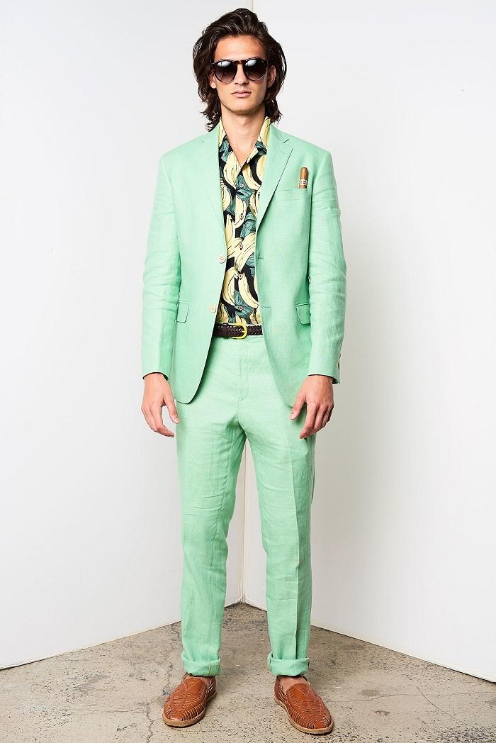 David Hart Men's Spring 2018 Collection banana print shirt green suit
