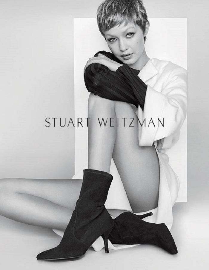 Gigi Hadid Flaunts a Pixie Cut in Stuart Weitzman's New Campaign Cling booties