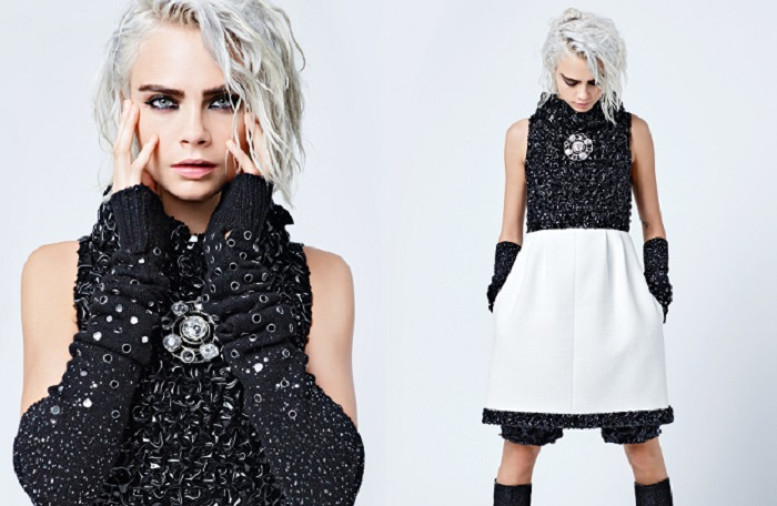 Lily-Rose Depp and Cara Delevingne are Chanel's Muses for the Fall 2019 Campaign black and white dress