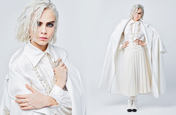 Lily-Rose Depp and Cara Delevingne are Chanel's Muses for the Fall 2019 Campaign white pleated skirt shirt jacket