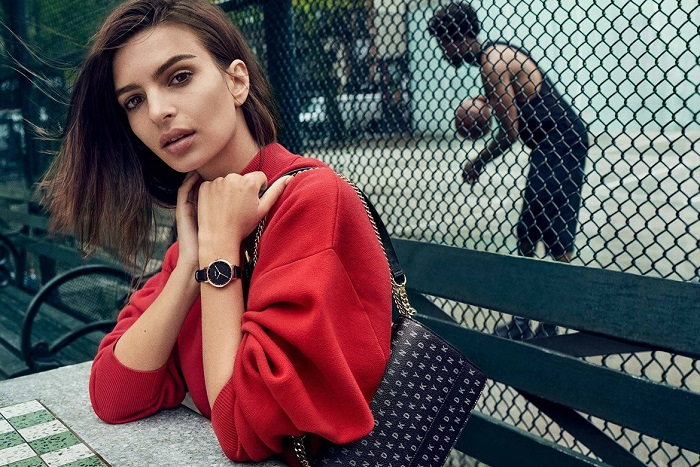 Emily Ratajkowski Masters the Street Style in DKNY's Fall 2017 Campaign red sweatshirt black backpack