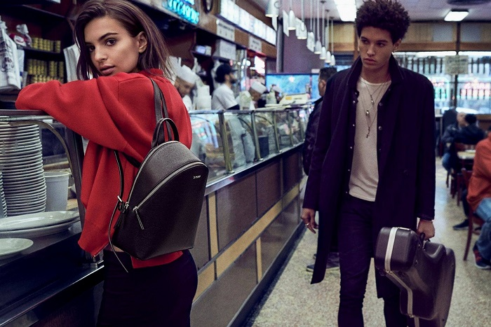 Emily Ratajkowski Masters the Street Style in DKNY's Fall 2017 Campaign red sweatshirt backpack