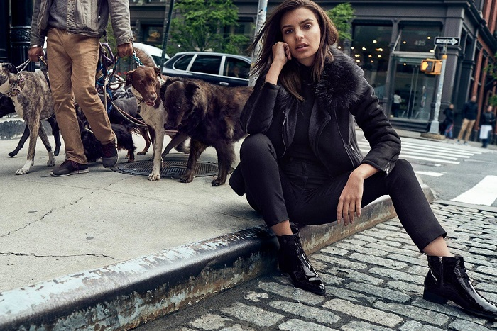 Emily Ratajkowski Masters the Street Style in DKNY's Fall 2017 Campaign black pants and jacket