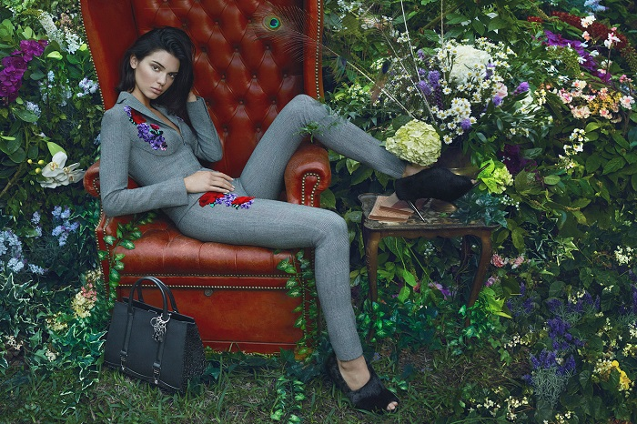 Kendall Jenner Looks Sensational in La Perla's New Campaign gray embroidered suit