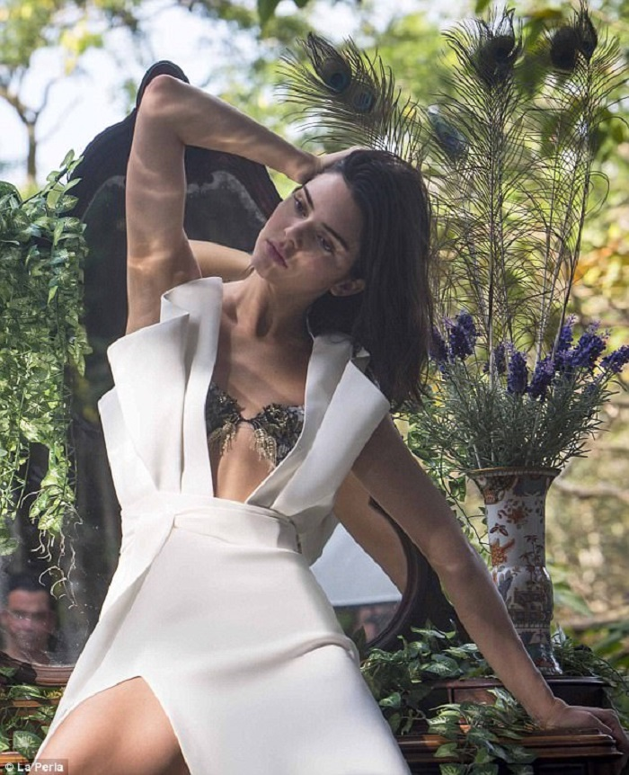 Kendall Jenner Looks Sensational in La Perla's New Campaign white dress plunging neckline high slit