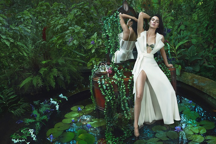 Kendall Jenner Looks Sensational in La Perla's New Campaign white dress plunging neckline high slit