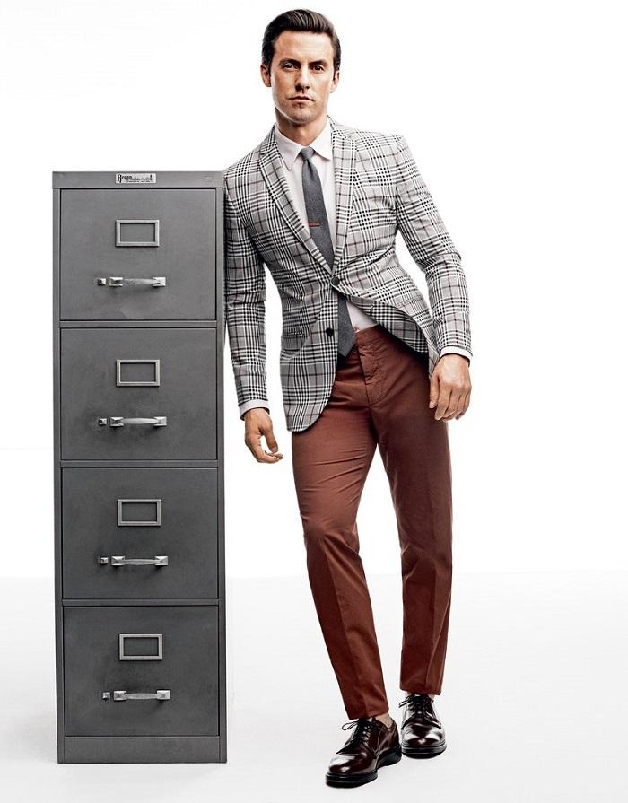Milo Ventimiglia Wears the Summer's Best Suits plaid blazer brown pants black tie