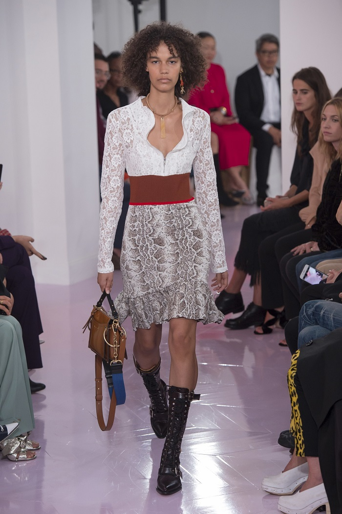 Chloé RTW Spring 2018 Collection at PFW white shirt snakeskin skirt