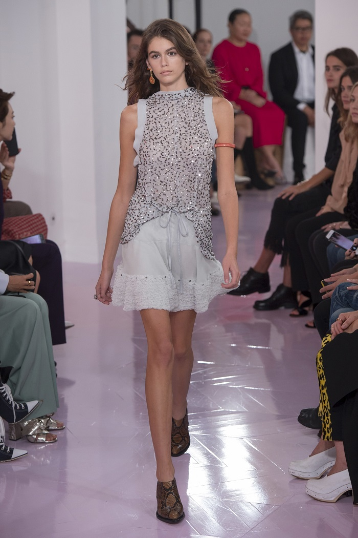 Chloé RTW Spring 2018 Collection at PFW embellished top gray skirt
