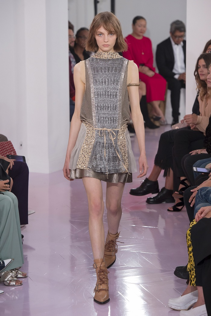 Chloé RTW Spring 2018 Collection at PFW embellished dress patched