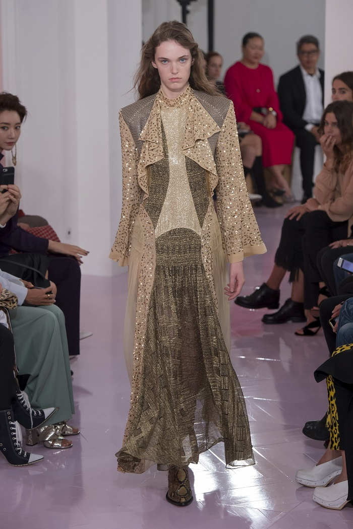 Chloé RTW Spring 2018 Collection at PFW embellished maxi dress patched