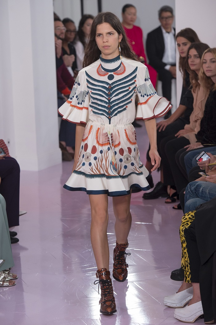 Chloé RTW Spring 2018 Collection at PFW embroidered mini dress