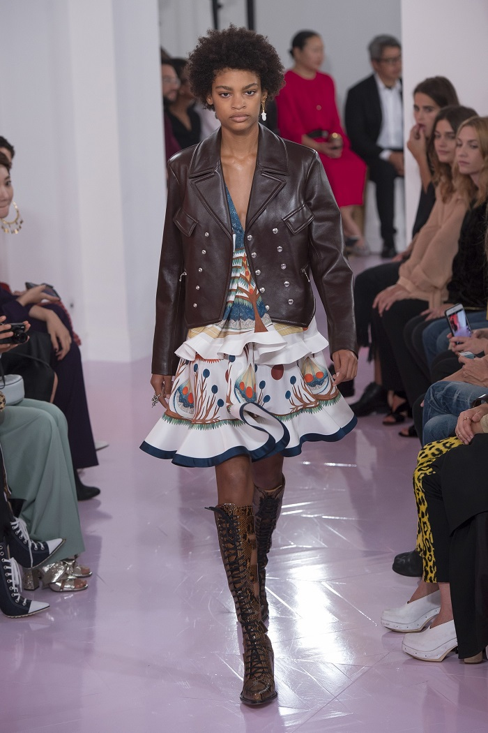 Chloé RTW Spring 2018 Collection at PFW embroidered mini dress brown leather jacket