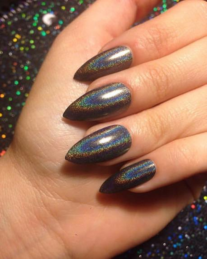 Chrome Nails How To DIY The Metallic Manicure Trend black holographic metallic nails