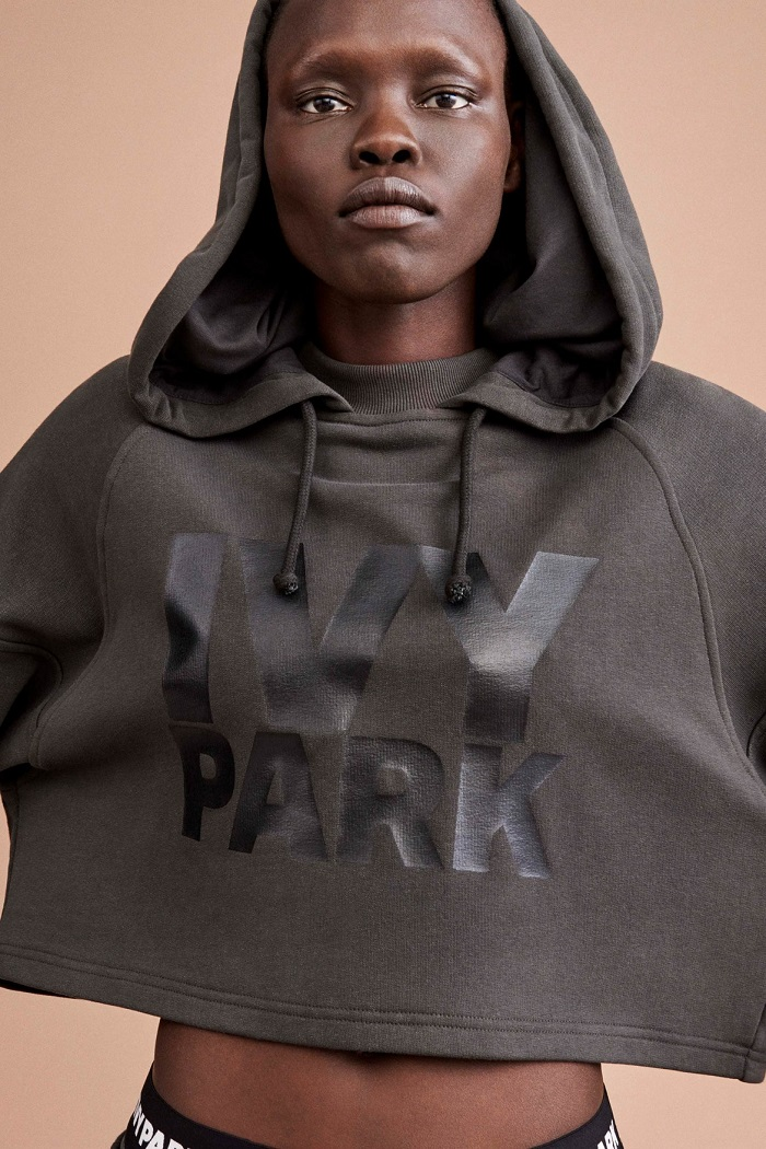 Ivy Park's Fall 2017 Collection Celebrates Diverse Beauty gray hoodie
