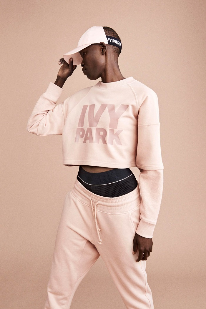 Ivy Park's Fall 2017 Collection Celebrates Diverse Beauty pink hoodie pink sweatpants