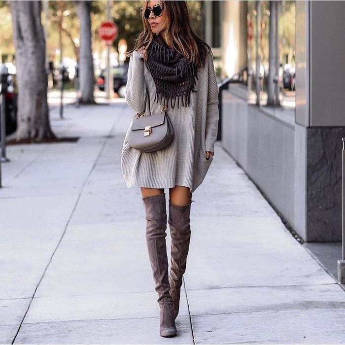 Casual Fall Outfits To Upgrade Your Everyday Style sweater dress and over the knee boots