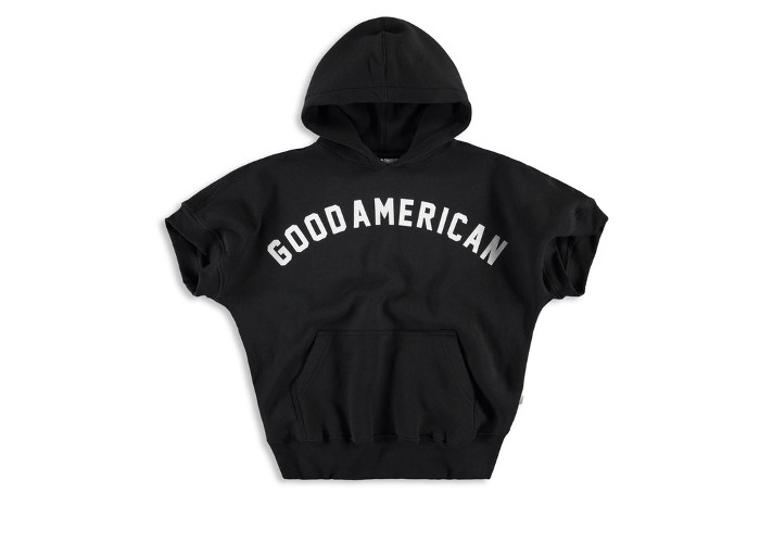 Khloe Kardashians's Good American x VFILES Collaboration & Pop-up Store black logo hoodie