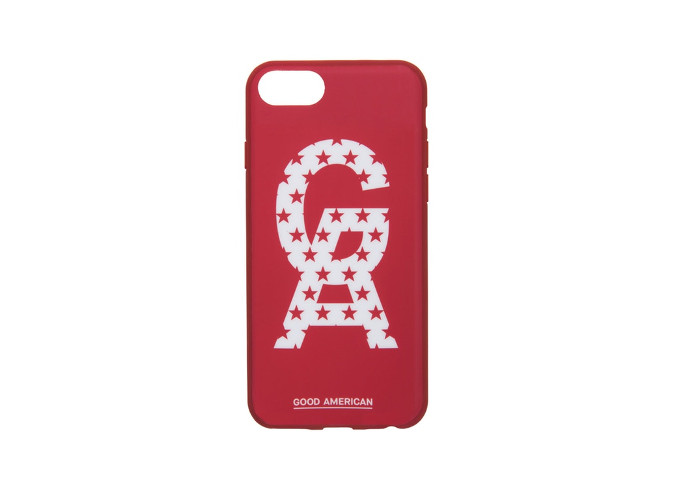 Khloe Kardashians's Good American x VFILES Collaboration & Pop-up Store red logo phone case