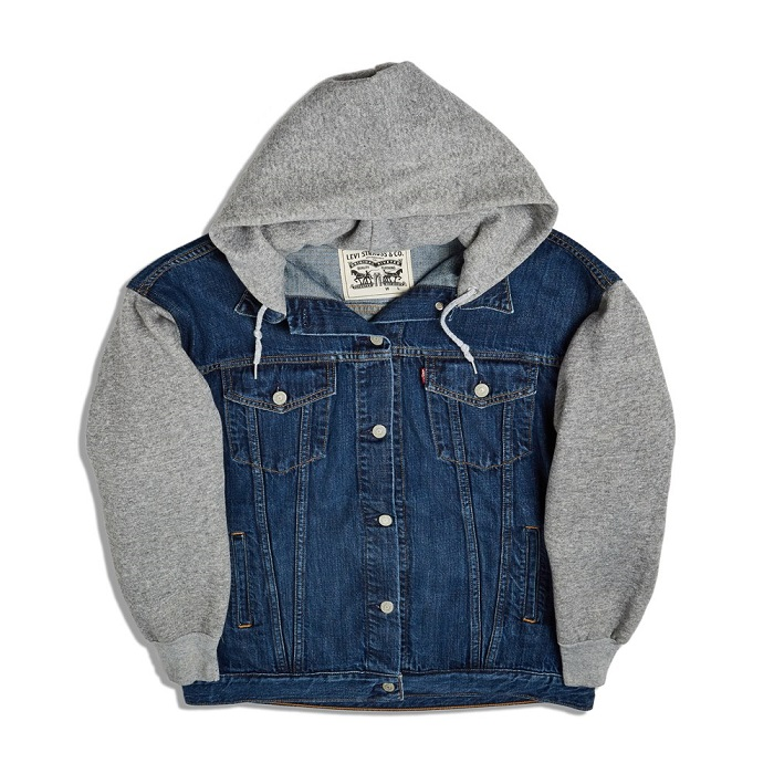 Levi's Tapped 50 Influencers to Celebrate the 50th Anniversary of the Trucker Jacket gray hoodie denim