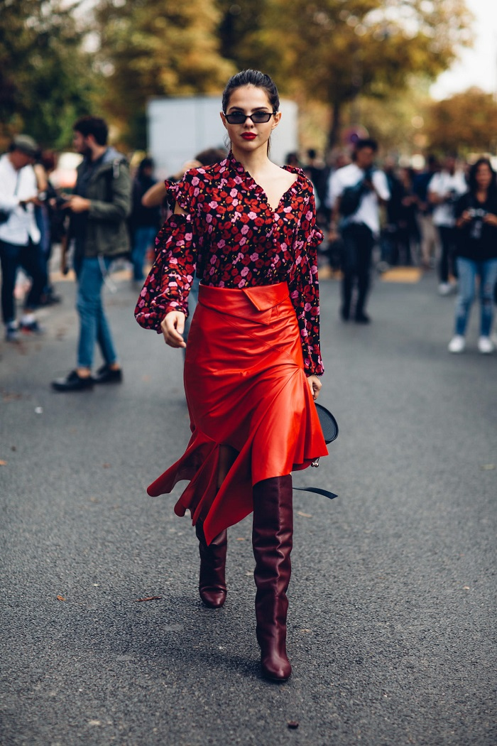 Red Boots Are This Fall's Must-Have red skirt top