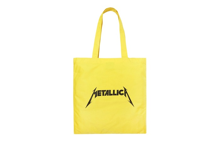 Selfridges And Metallica Unveil A Capsule Designed By Justin O'Shea yellow metallica bag