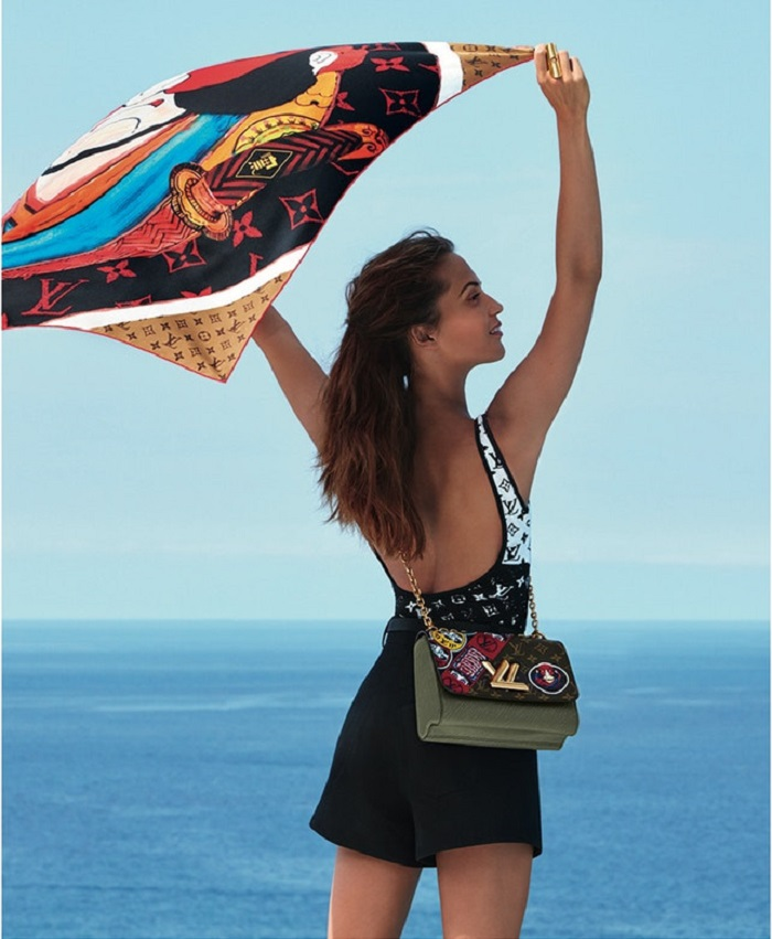 Alicia Vikander Stars In Louis Vuitton's Cruise 2018 Campaign shorts bodysuit bag scarf