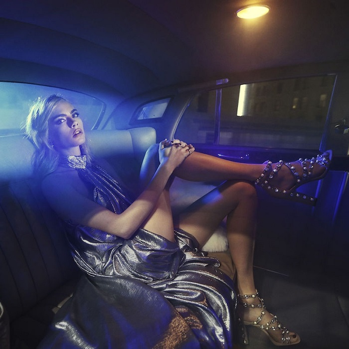 Cara Delevingne Is A Disco Queen In Jimmy Choo's Campaign embellished sandals