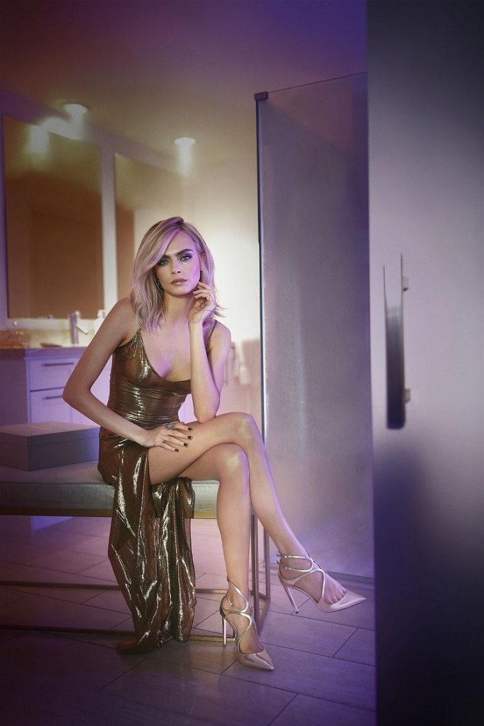 Cara Delevingne Is A Disco Queen In Jimmy Choo's Campaign pumps golden dress