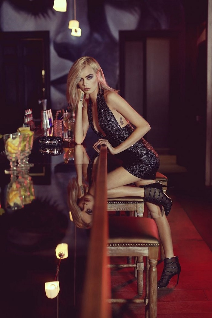 Cara Delevingne Is A Disco Queen In Jimmy Choo's Campaign black ankle boots black dress