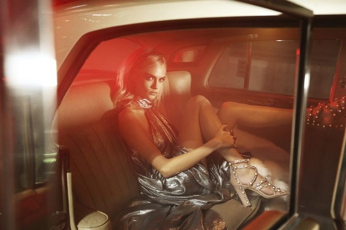 Cara Delevingne Is A Disco Queen In Jimmy Choo's Campaign embellished sandals silver dress