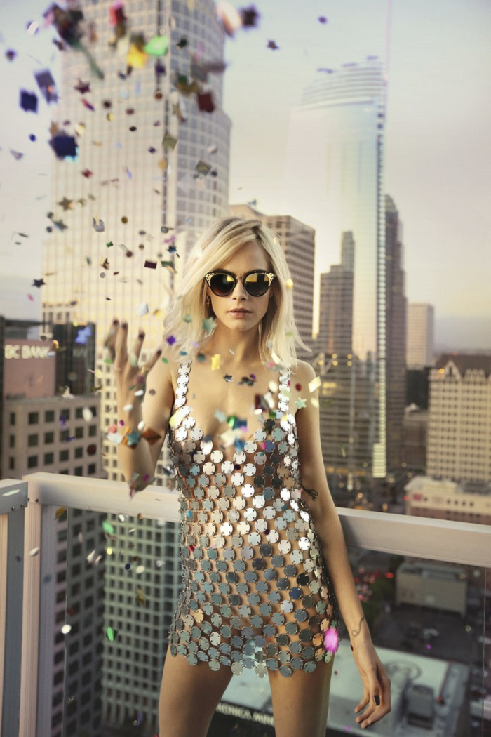 Cara Delevingne Is A Disco Queen In Jimmy Choo's Campaign silver dress