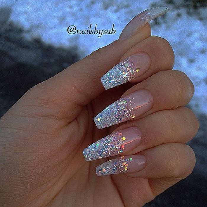 Glitter Nail Designs rose glitter nails - Glitter Nail Designs To Sparkle All Season Fashionisers