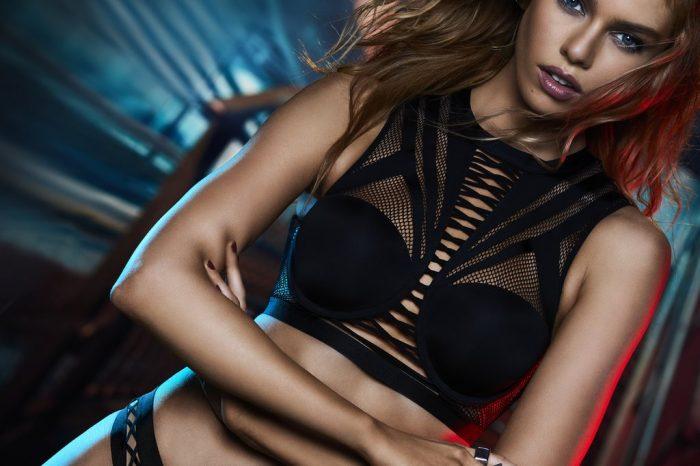 Victoria's Secret x Balmain Collection Stella Maxwell black mesh bra