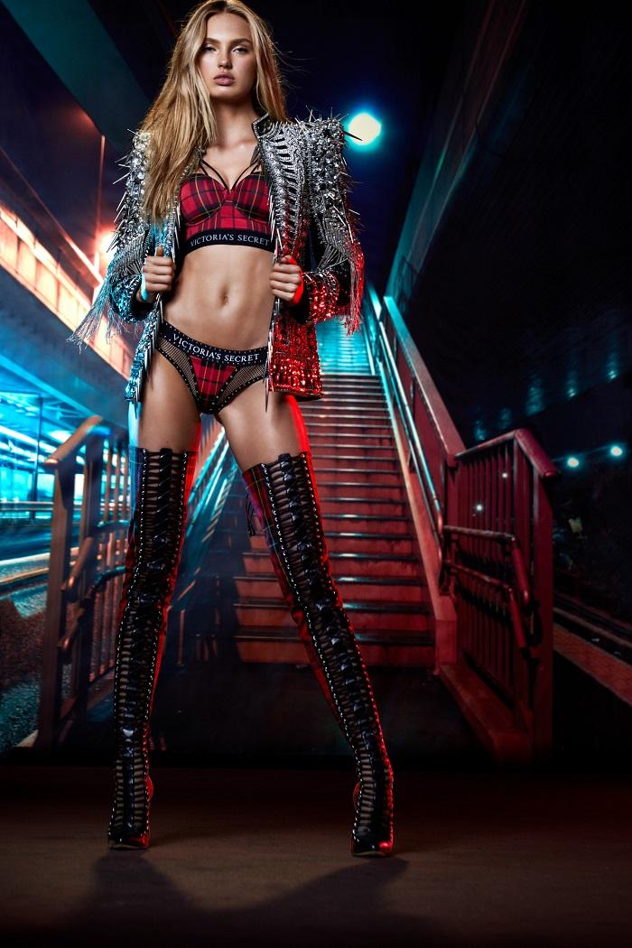 Victoria's Secret x Balmain Collection plaid panties plaid bra embellished coat
