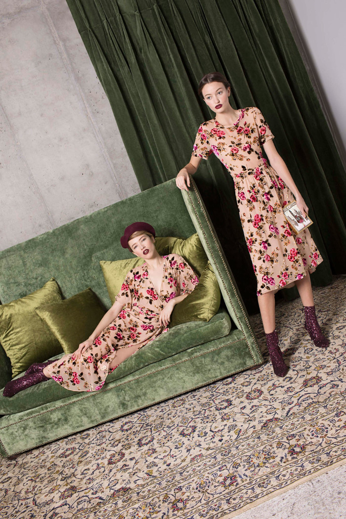 Alice and Olivia Pre Fall 2018 Collection floral dresses