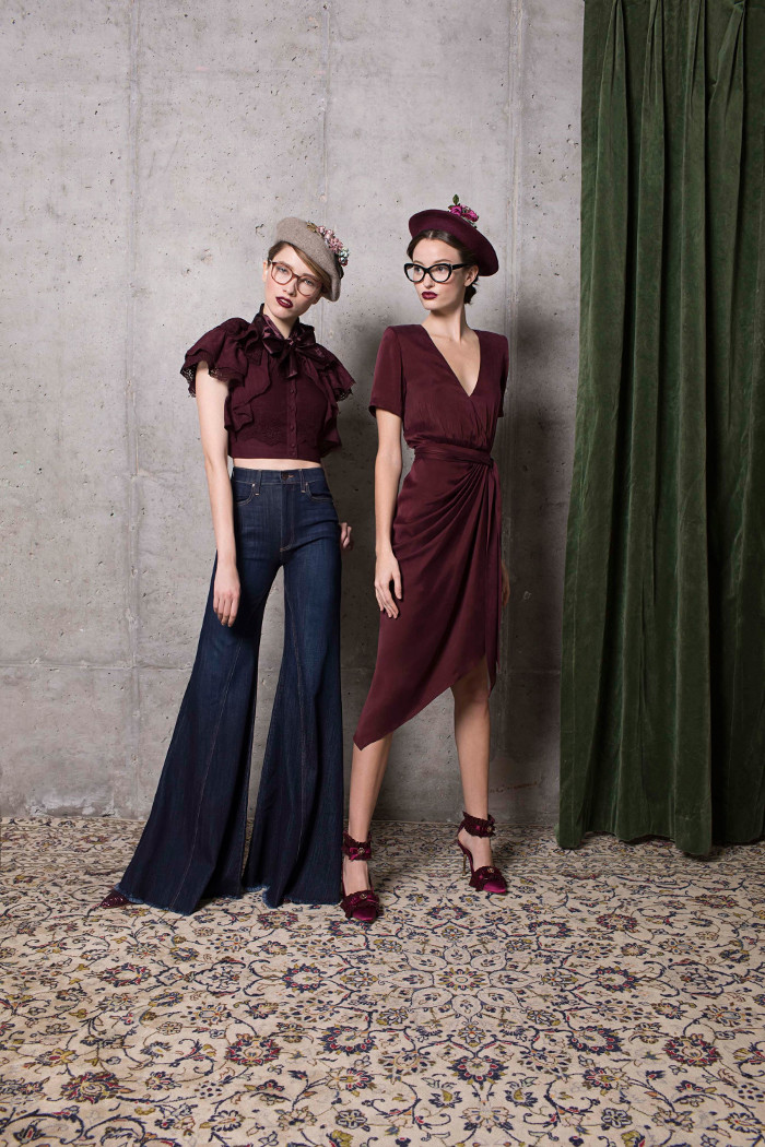 Alice and Olivia Pre Fall 2018 Collection flared jeans and crop top and burgundy midi dress