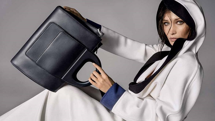 Bella Hadid Fronts Max Mara's Spring 2018 Accessories Campaign black bag