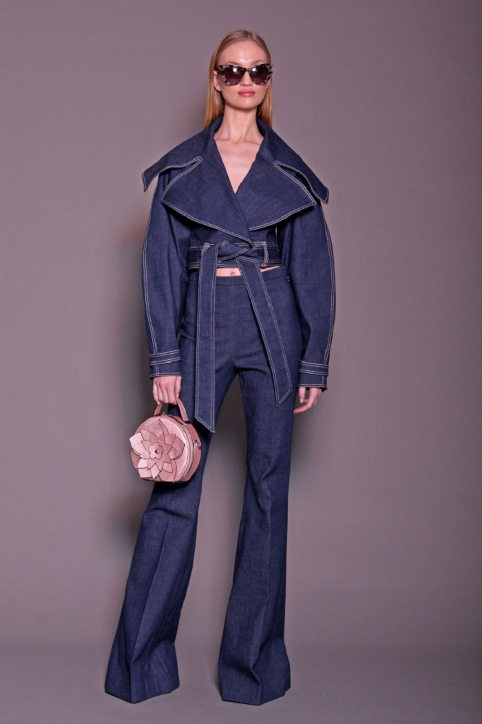 Christian Siriano Pre-Fall 2018 denim pants crop top