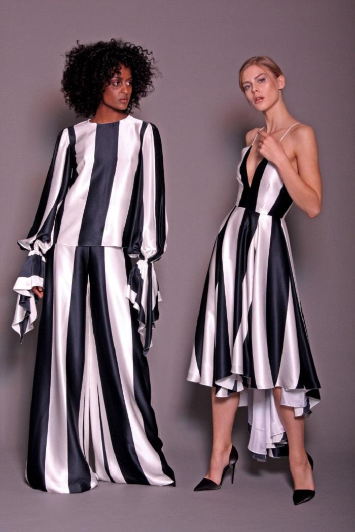 Christian Siriano Pre-Fall 2018 striped dress pants blouse