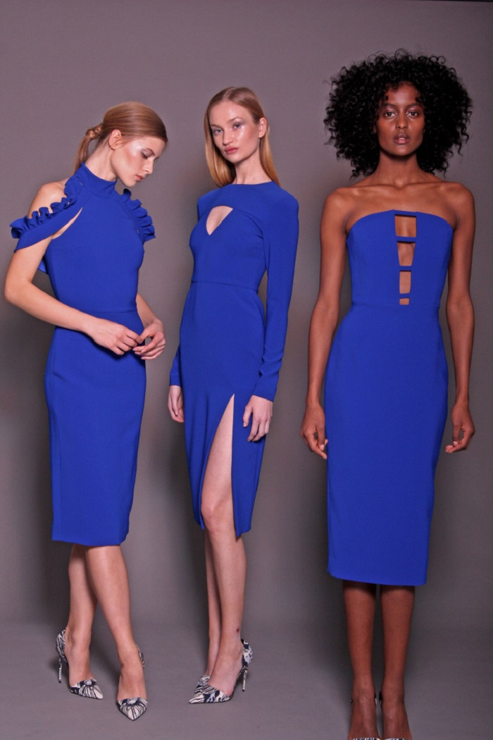 Christian Siriano Pre-Fall 2018 blue midi dress