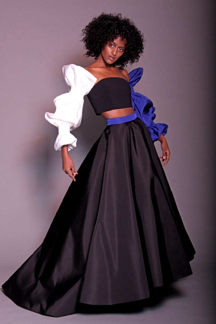 Christian Siriano Pre-Fall 2018 Collection black voluminous skirt black white and blue crop top