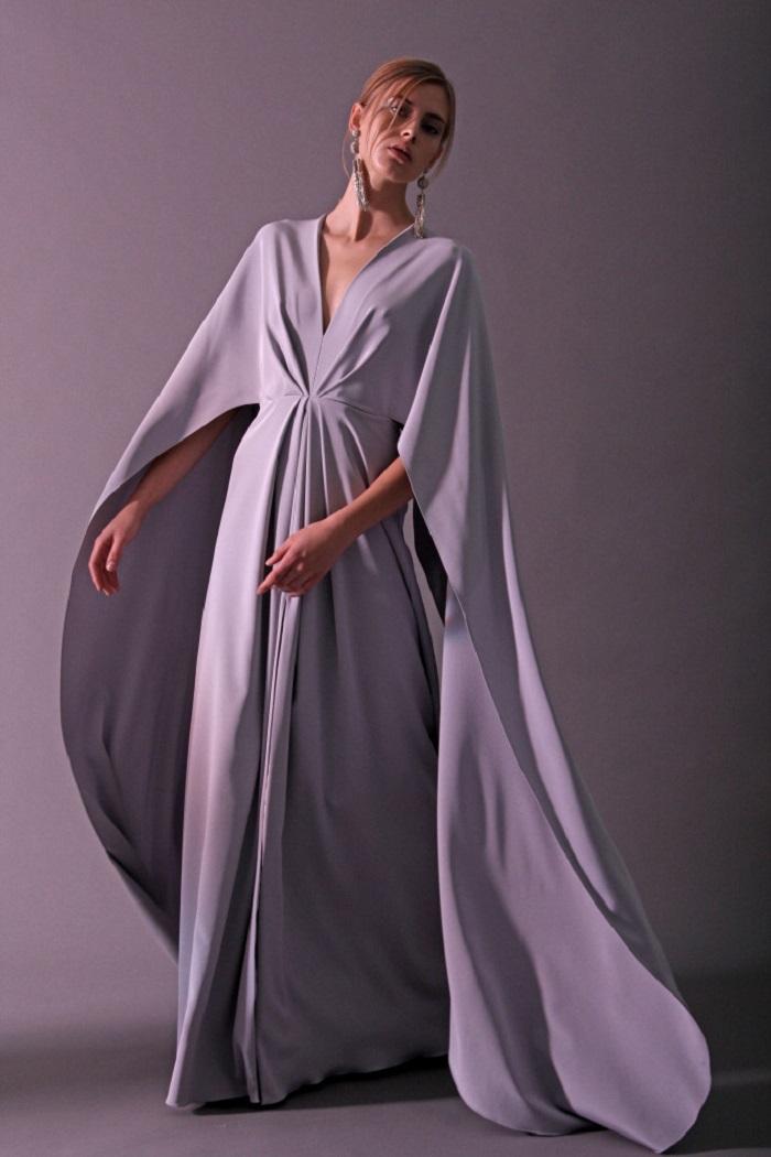 Christian Siriano Pre-Fall 2018 Collection long gray dress