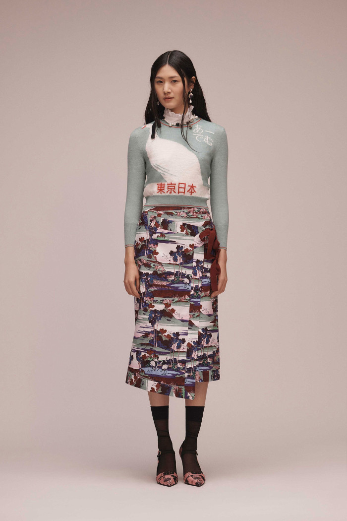 Erdem Pre Fall 2018 Collection swan sweater and printed midi skirt