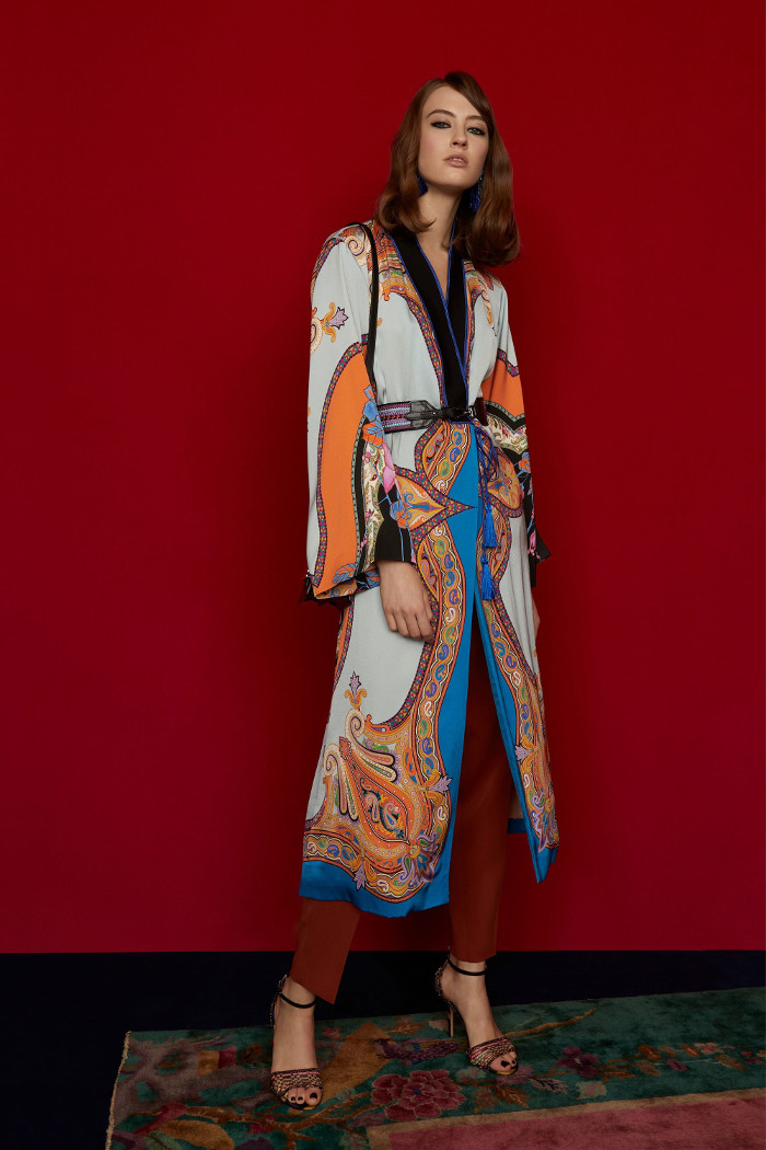 Etro Pre Fall 2018 Collection long cardigan and trousers