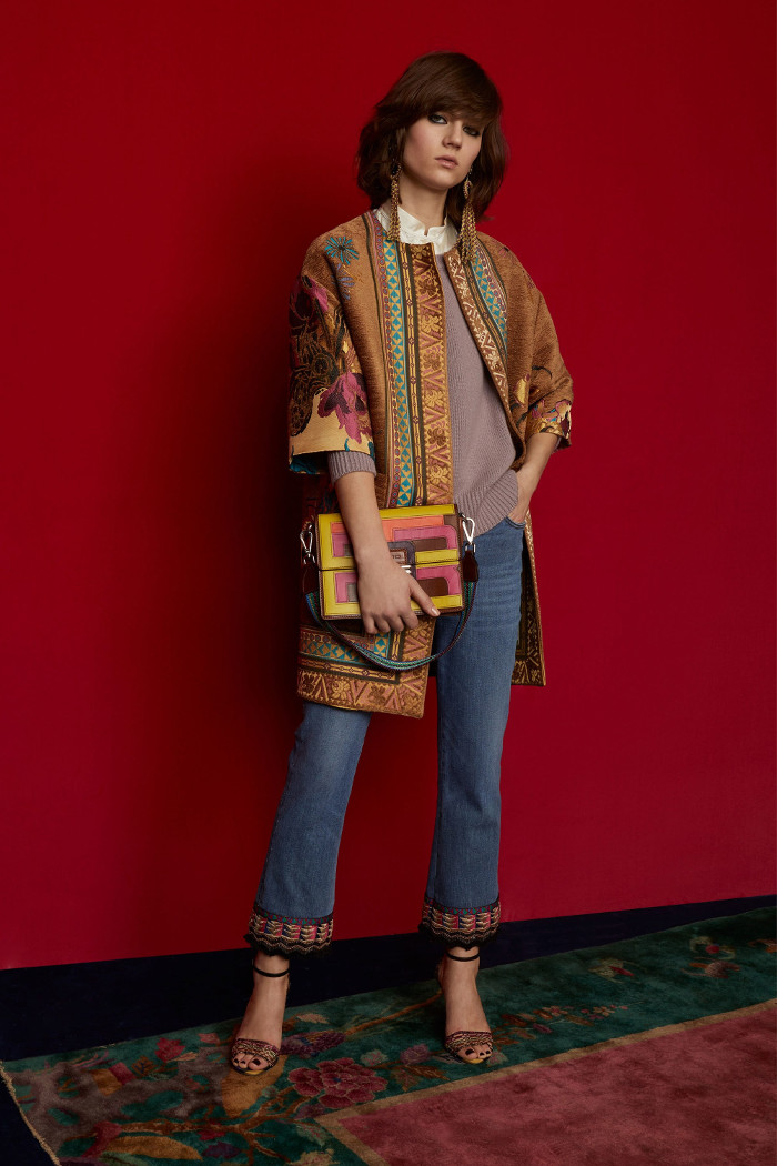 Etro Pre Fall 2018 Collection brocade cardigan and jeans