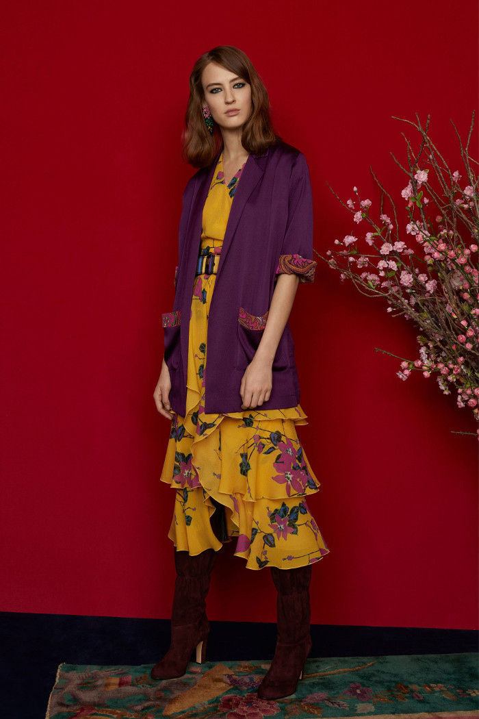 Etro Pre Fall 2018 Collection floral dress and purple knitted cardigan