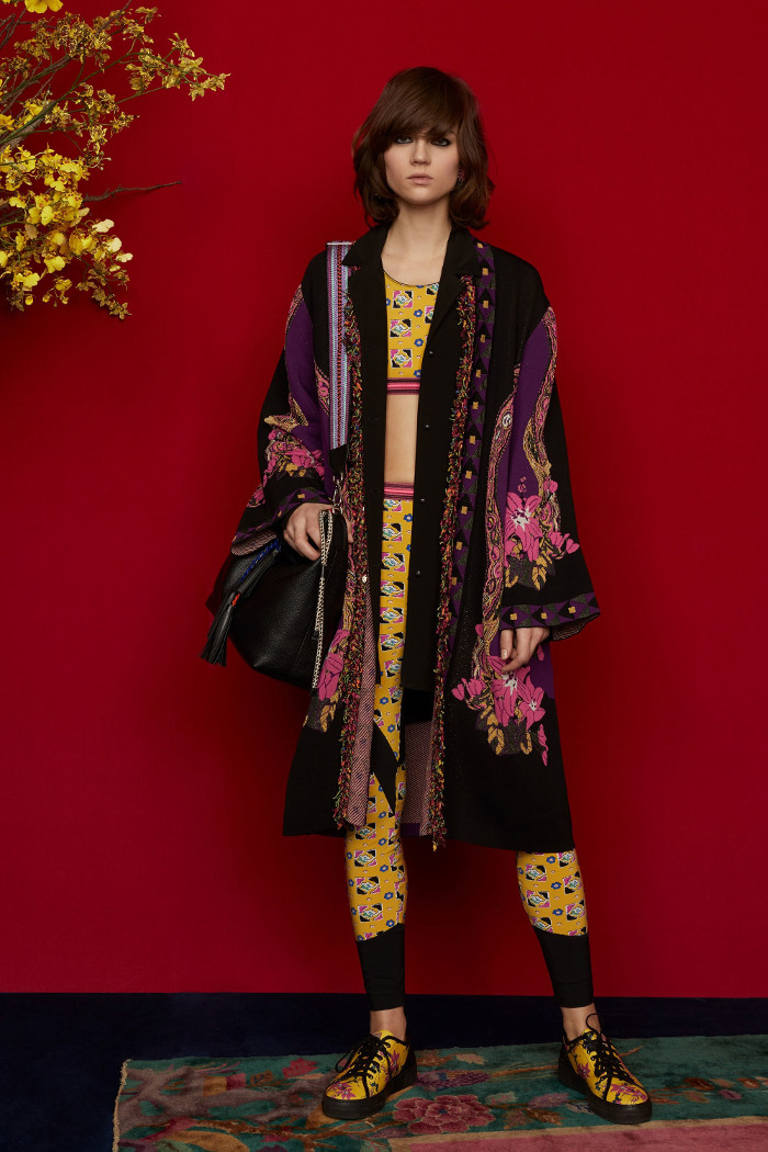Etro Pre Fall 2018 Collection velvet cardigan and sporty coordinates