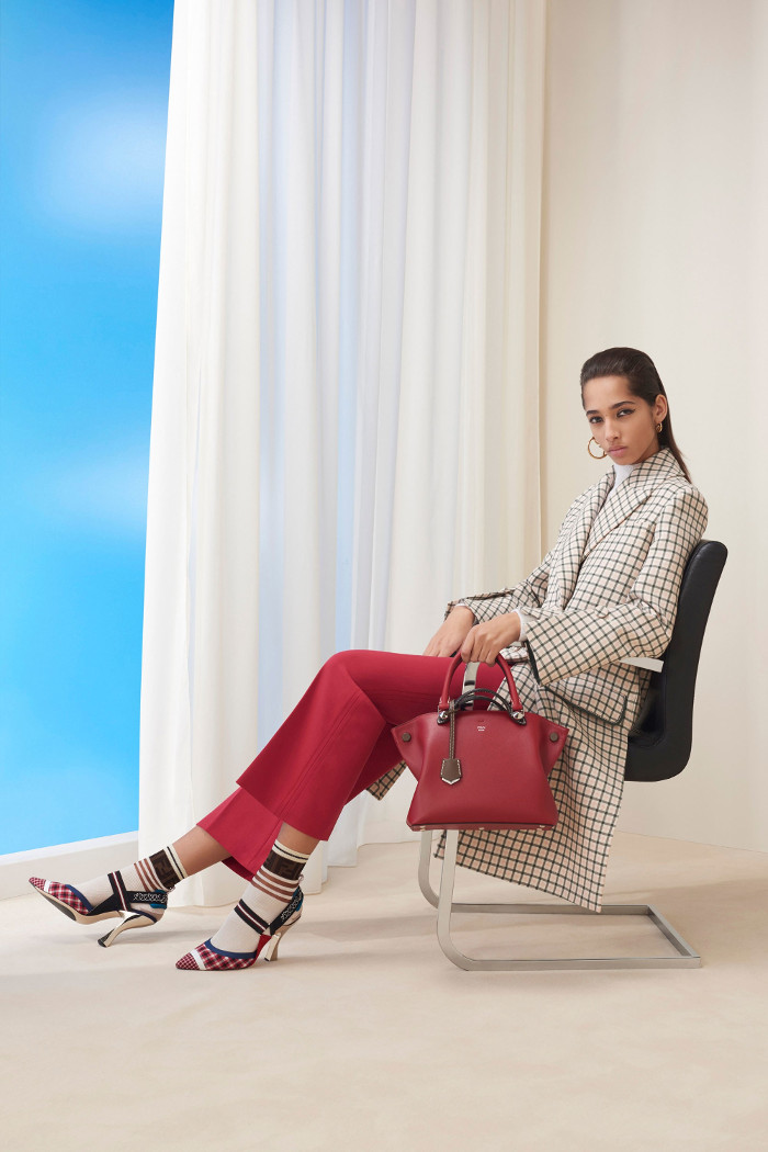Fendi Pre Fall 2018 Collection red trousers and patterned coat