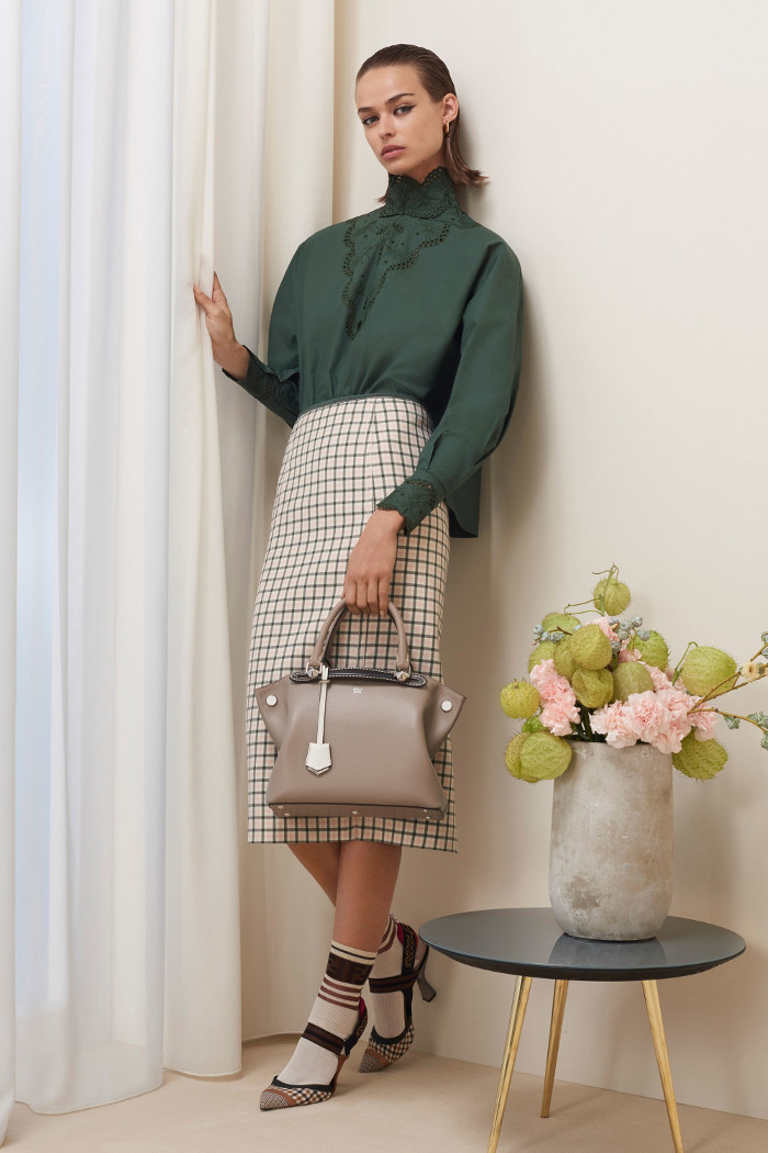 Fendi Pre Fall 2018 Collection patterned midi skirt and olive shirt